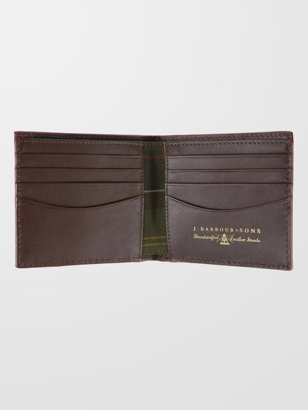 BARBOUR Dark Brown Grain Leather Billfold Wallet