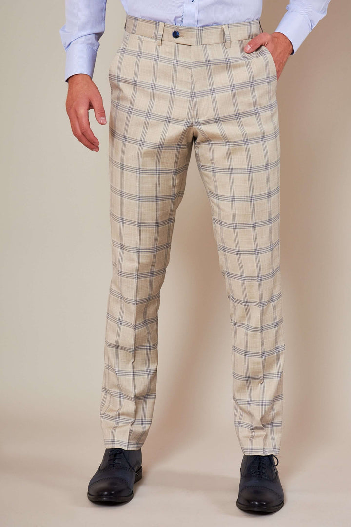 Marc Darcy Buxton Stone Check Trousers