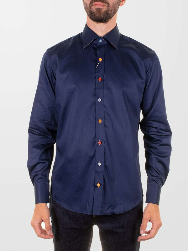CLAUDIO LUGLI Navy Splash Floral Trim Shirt