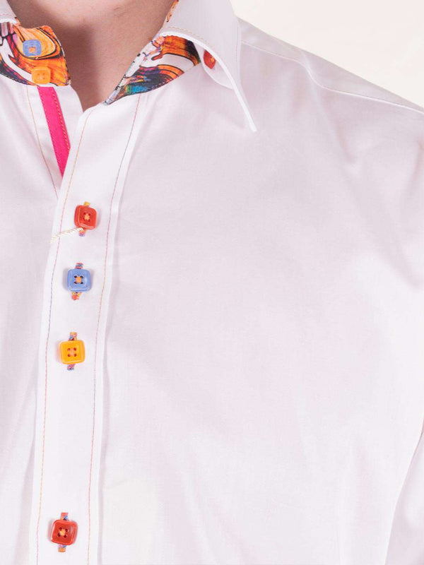 CLAUDIO LUGLI White Plain Multi-Coloured Button LS Shirt