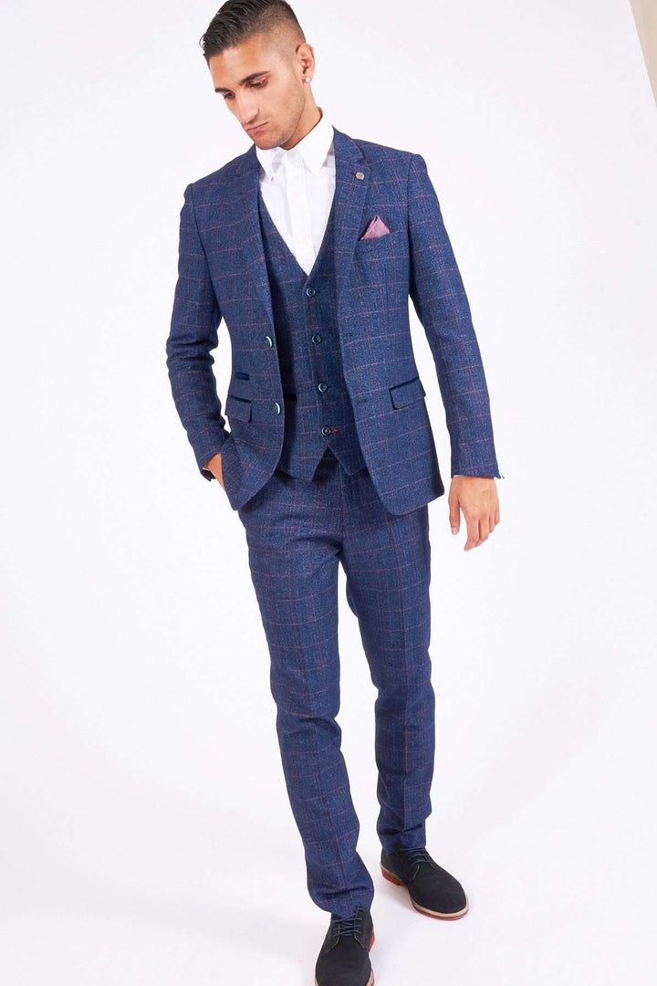 Marc Darcy Harry Indigo Tweed Check Three Piece Suit
