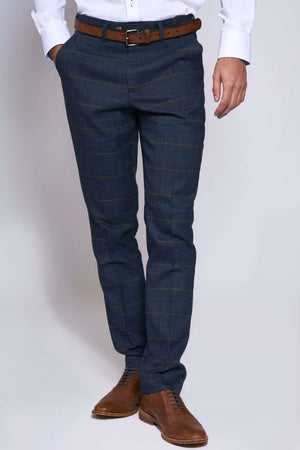 Marc Darcy Jenson Marine Navy Check Trousers