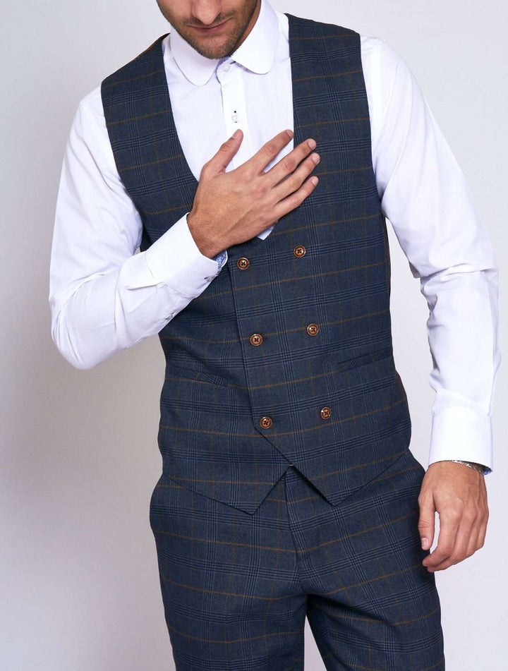 Marc Darcy Jenson Marine Navy Check Double Breasted Waistcoat