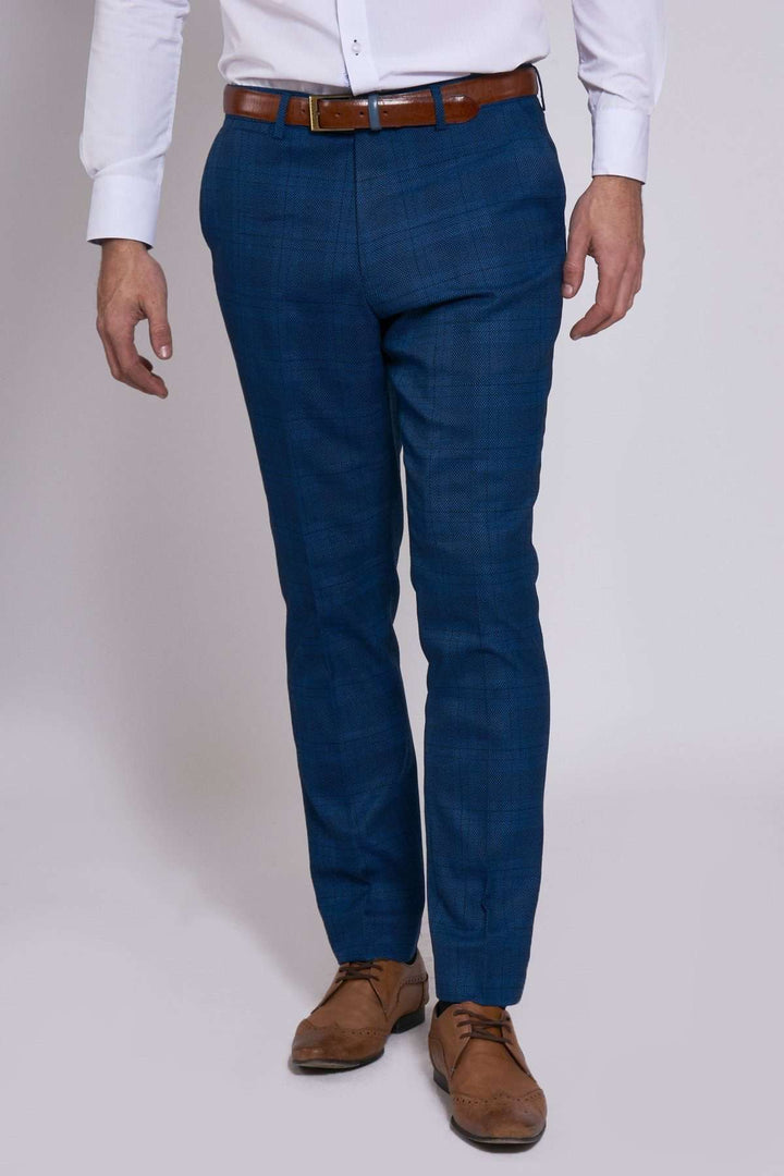 Marc Darcy Jerry Blue Check Trousers