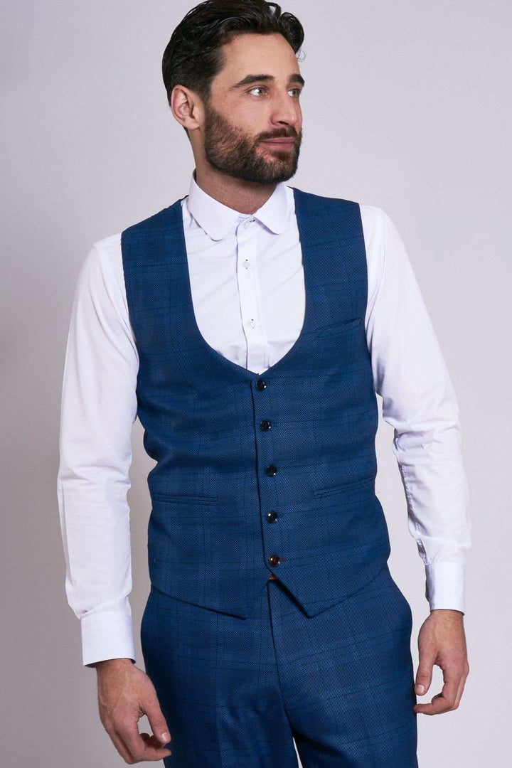 Marc Darcy Jerry Blue Check Single Breasted Waistcoat
