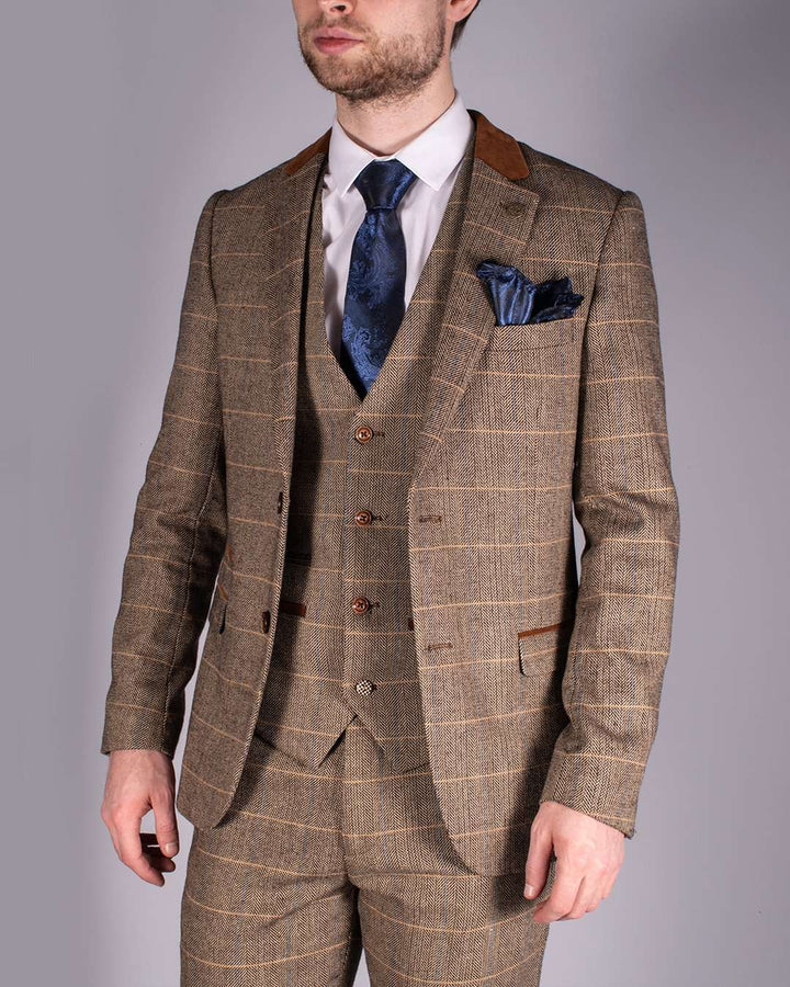 Marc Darcy DX7 Tan Heritage Tweed Check Blazer
