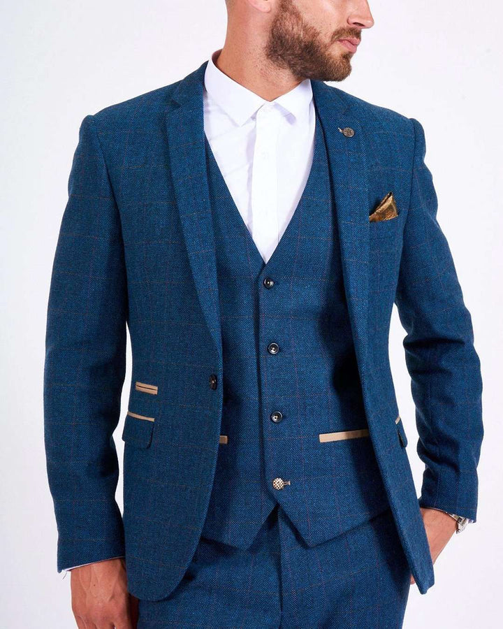Marc Darcy Dion Blue Tweed Blazer