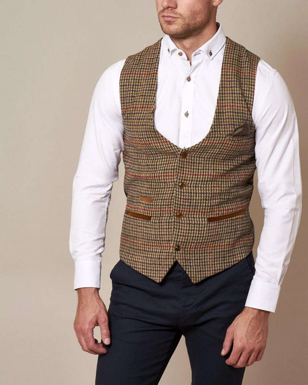 Marc Darcy Edward Tweed Single Breasted Waistcoat - Revolver Menswear Bawtry