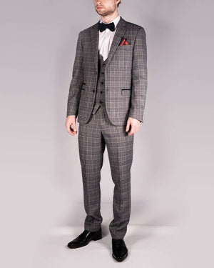 Marc Darcy Enzo Blue/Grey Check Trousers
