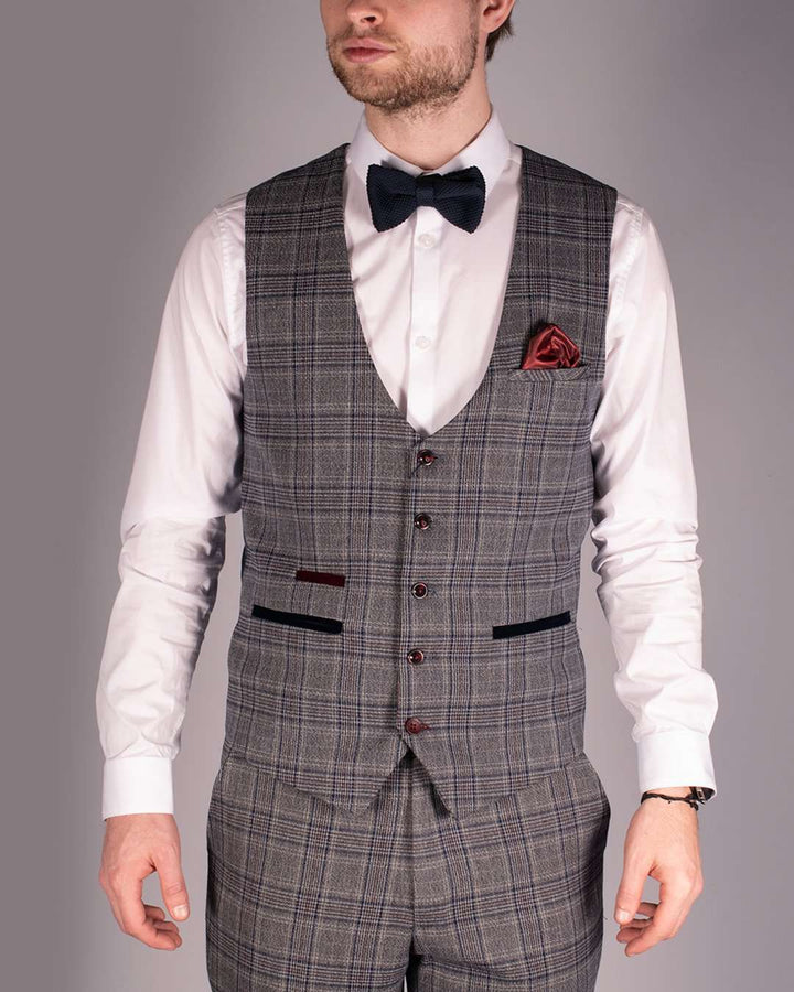 Marc Darcy Enzo Blue/Grey Check Single Breasted Waistcoat