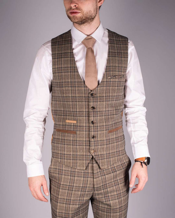 Marc Darcy Enzo Tan Check Single Breasted Waistcoat