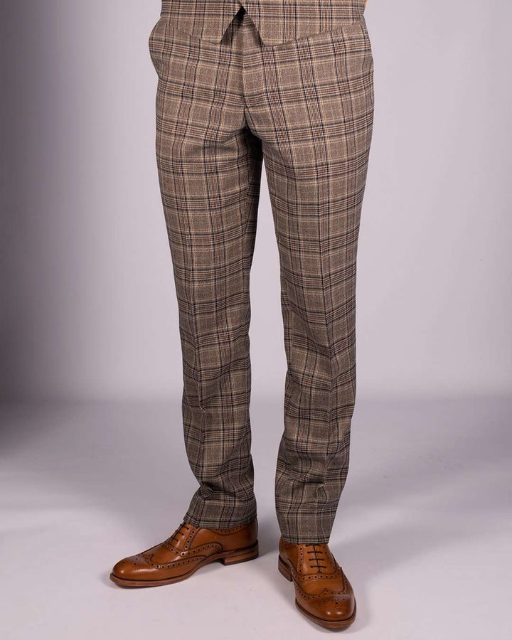 Marc Darcy Enzo Tan Check Trousers