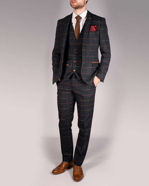 Marc Darcy Eton Navy Tweed Check Trousers