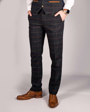 Marc Darcy Eton Navy Tweed Check Blazer