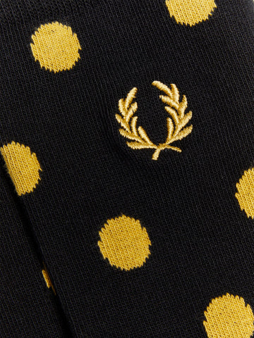 FRED PERRY Black & Champagne Polka Dot Socks