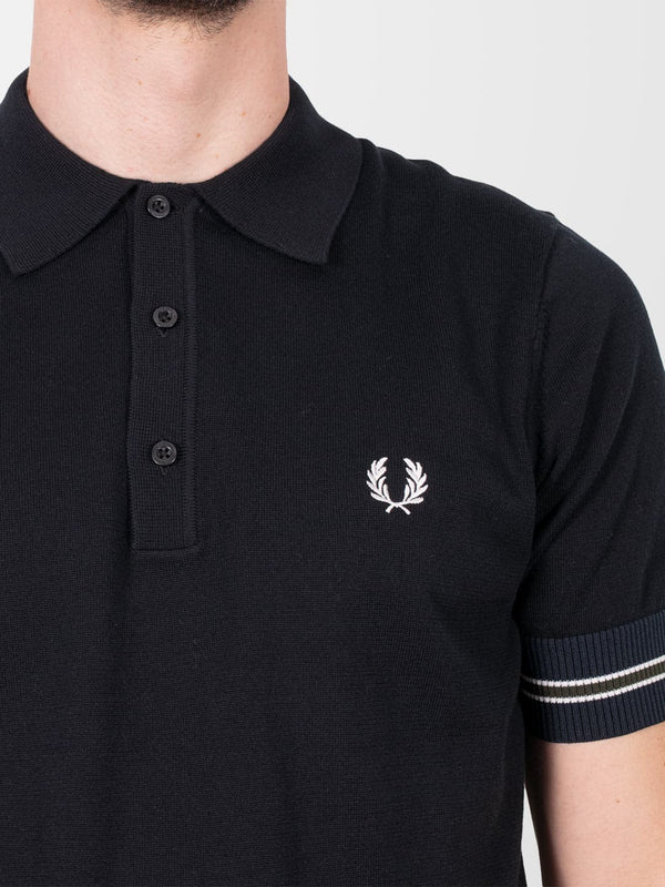 FRED PERRY Black Contrast Panel Knitted Polo Shirt