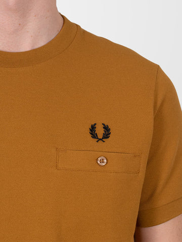 FRED PERRY Dark Caramel Pocket Detail Piqué T-Shirt