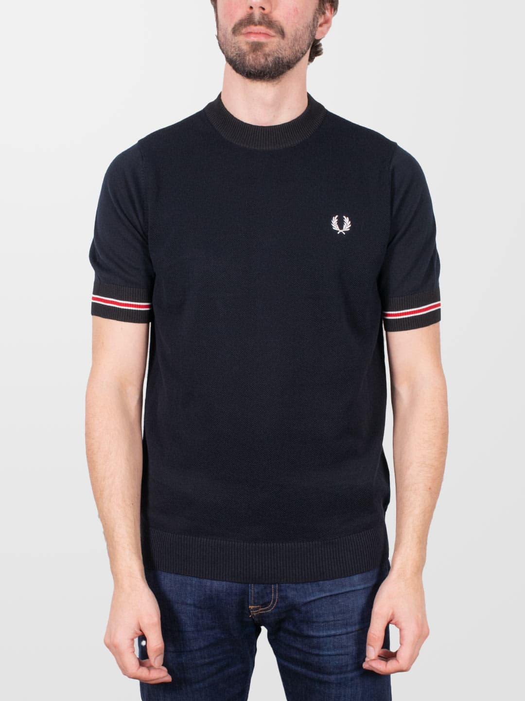 FRED PERRY Navy Tipped Cuff Knitted T-Shirt