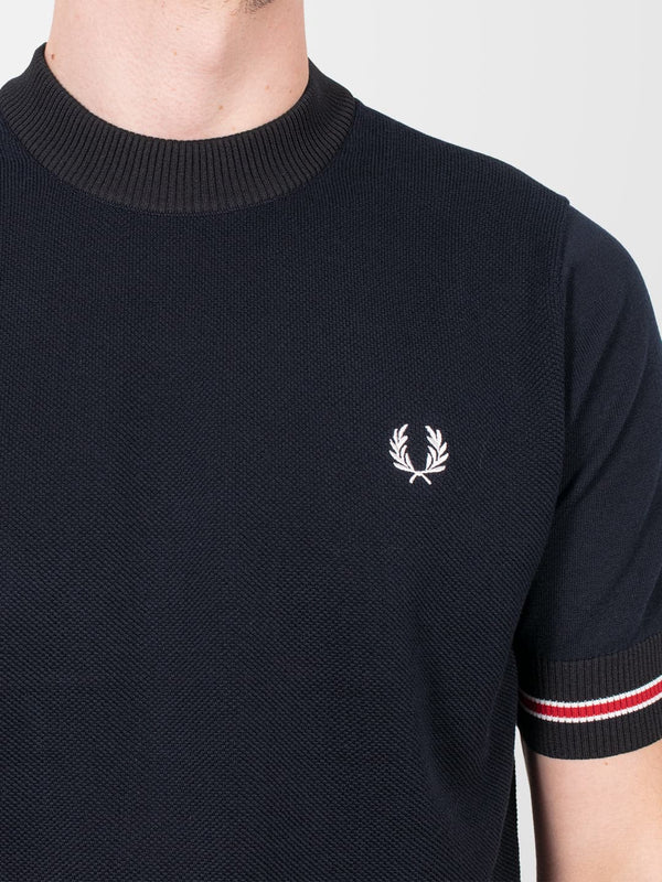 FRED PERRY Tipped Cuff Knitted T-Shirt