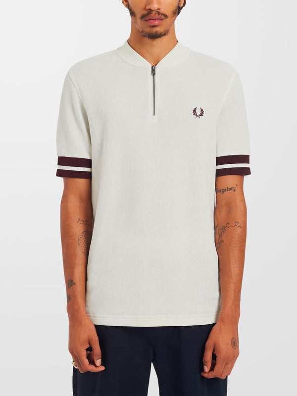 FRED PERRY Snow White Tipped Cuff Zip Neck Polo Shirt