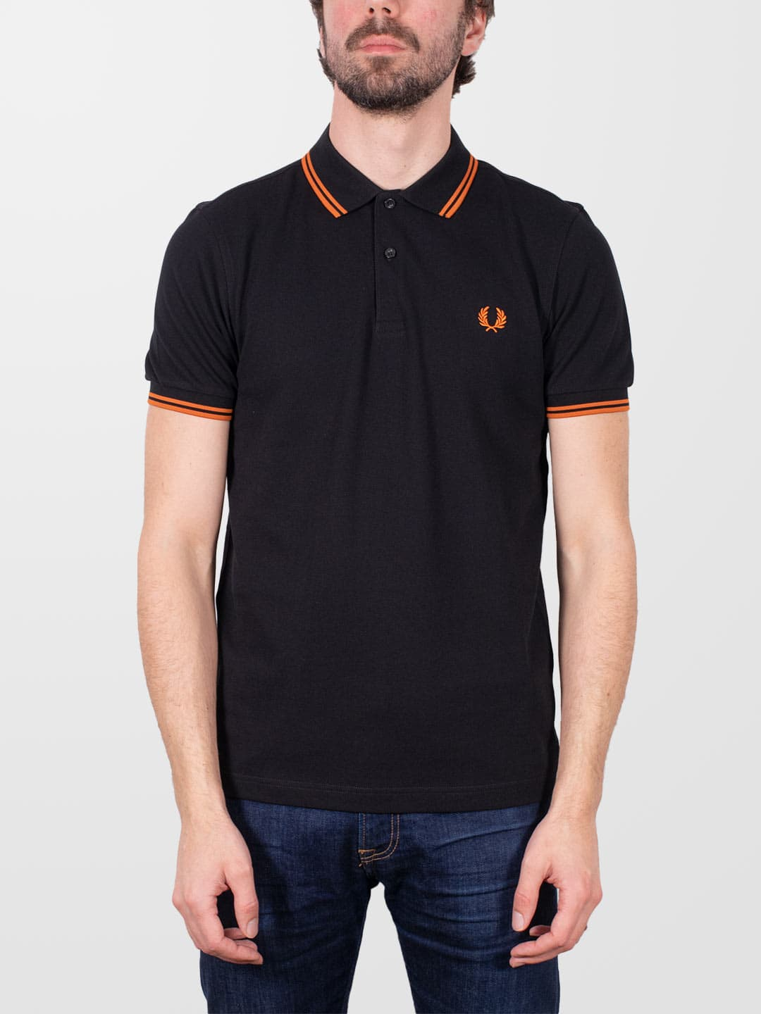 FRED PERRY Black & Rust Twin Tipped SS Polo Shirt