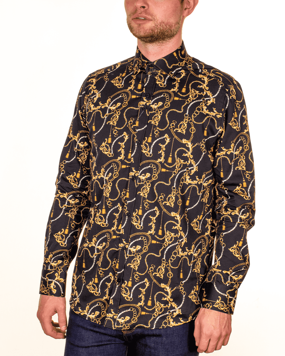 GUIDE LONDON Patterned Black LS Shirt - Revolver Menswear Bawtry
