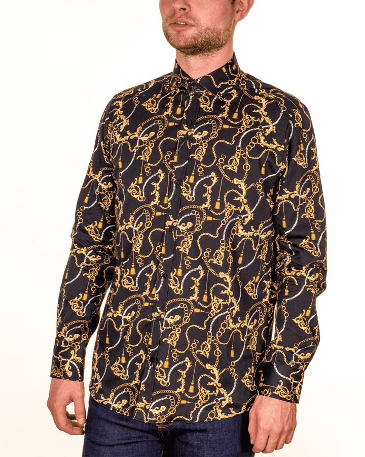 Guide London Long Sleeved Gold Detail Black Shirt