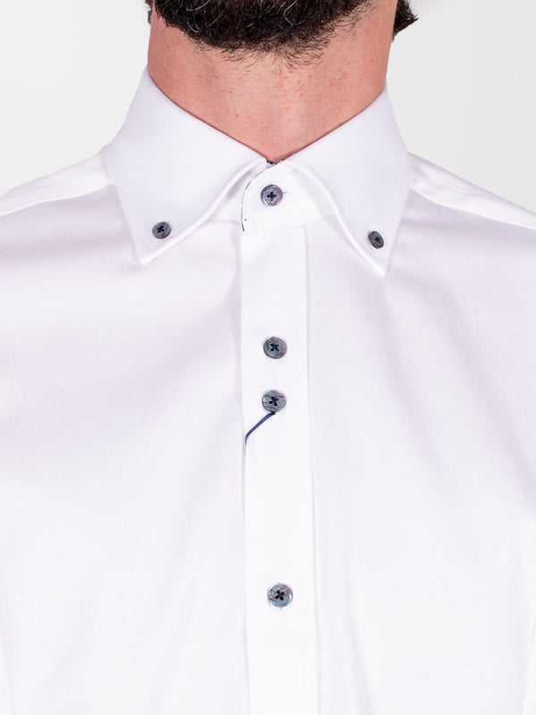 GUIDE LONDON White Button Down Plain LS Shirt