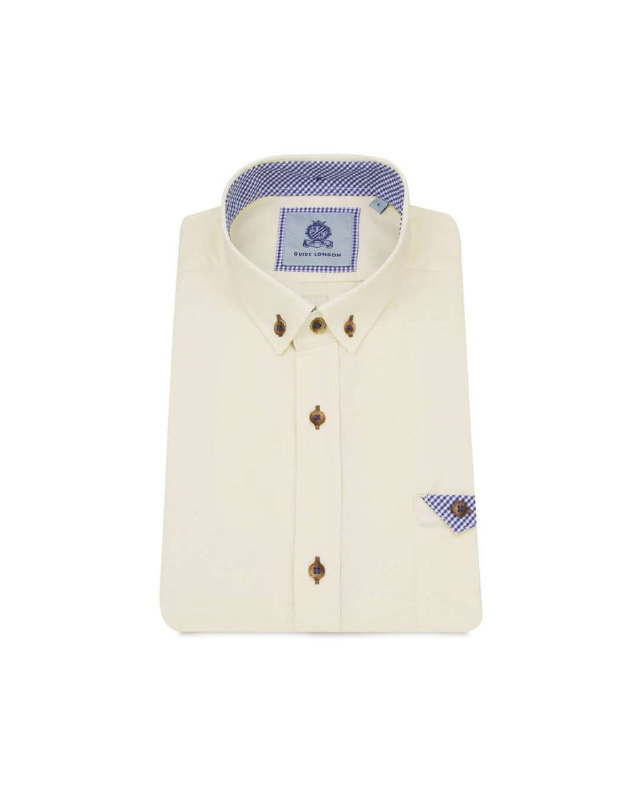 Guide London Lemon Short Sleeved Oxford Shirt