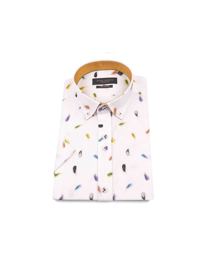 Guide London White Cotton Leaf Print Short Sleeved Shirt