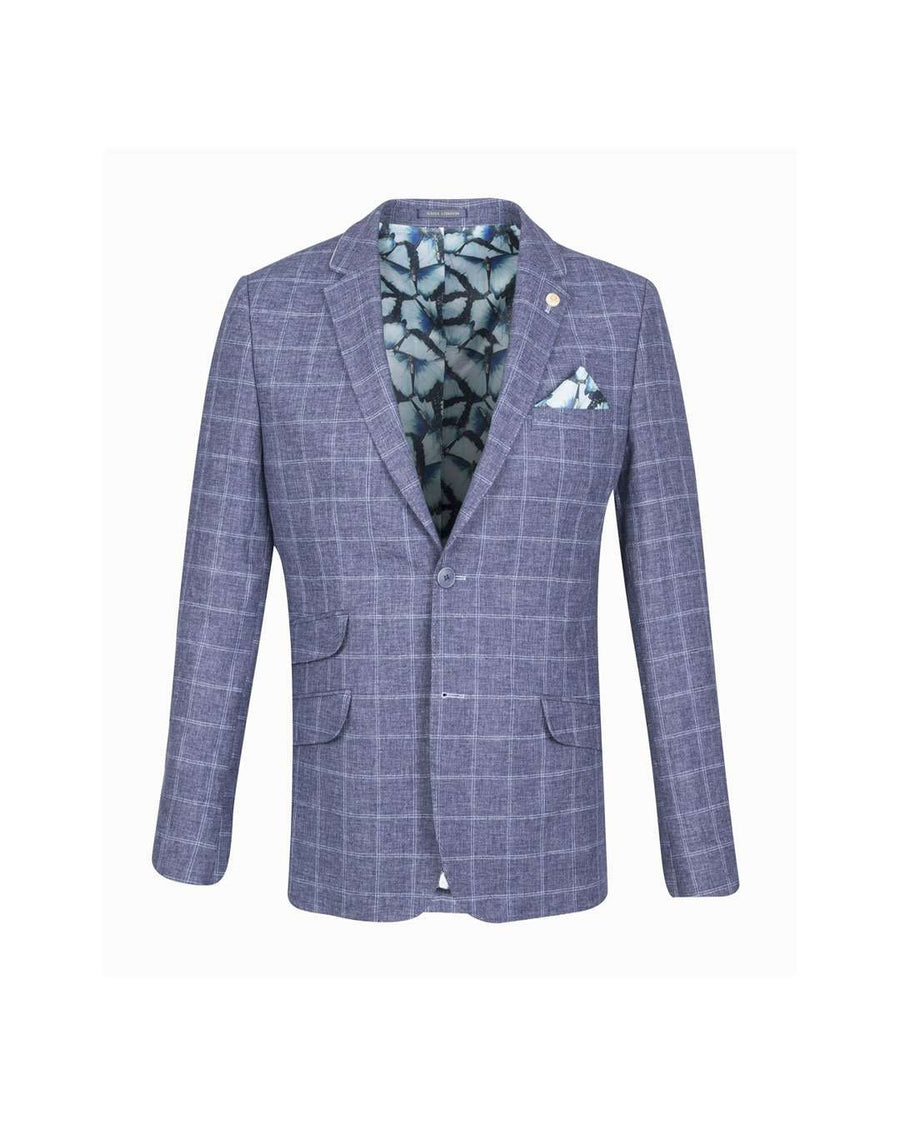 Guide London Navy Double Check Linen Blazer