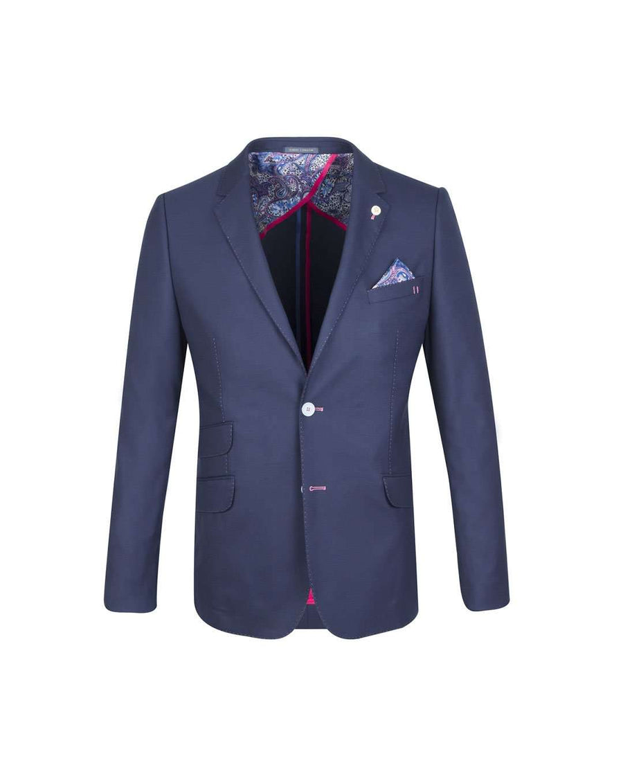 Guide London Navy Stretch and Wool Half Linen Blazer