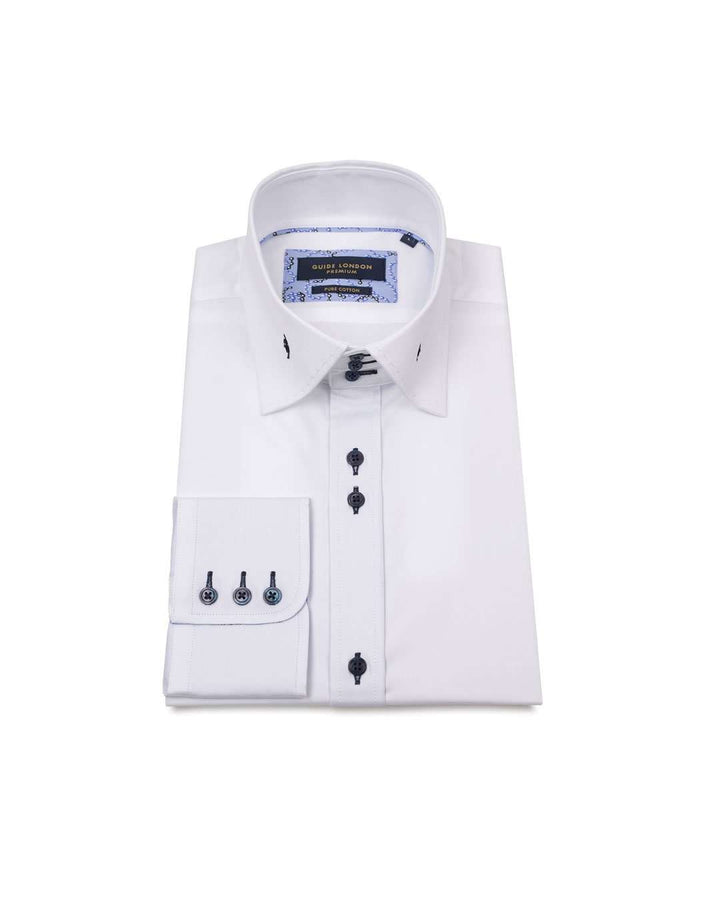 Guide London White Cotton High Collar Long Sleeved Shirt