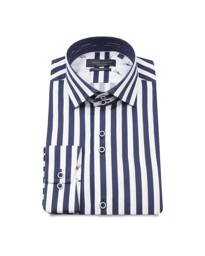 Guide London Navy Pure Cotton Stripe Long Sleeved Shirt