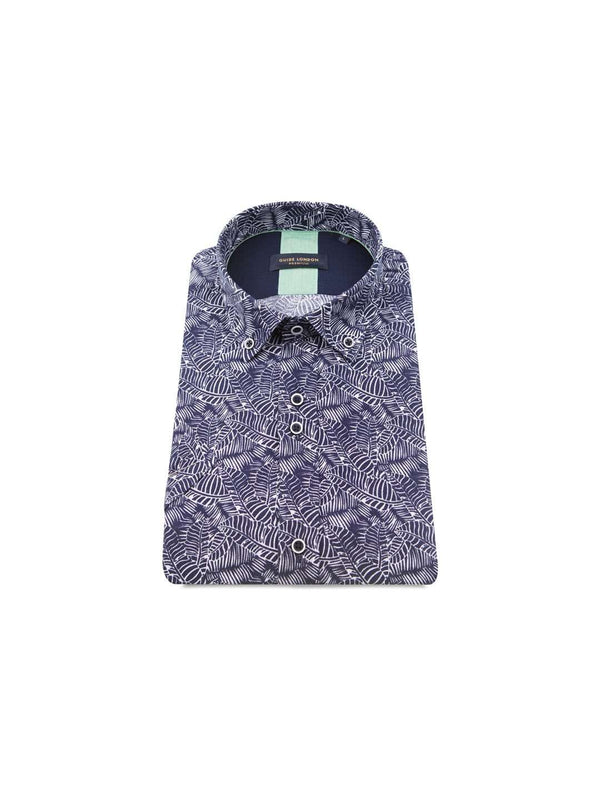 GUIDE LONDON Variegated Leaf Print SS Shirt