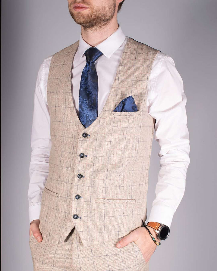Marc Darcy Harding Cream Tweed Single Breasted Waistcoat