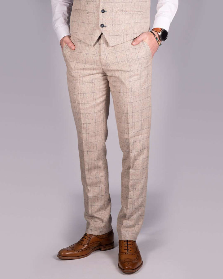 Marc Darcy Harding Cream Tweed Check Trousers