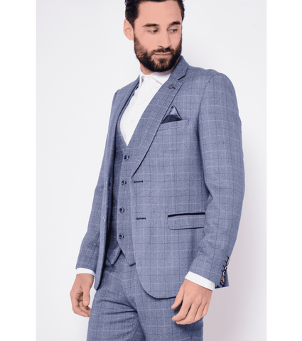 MARC DARCY Harry Windowpane Check Tweed Blazer - Revolver Menswear Bawtry