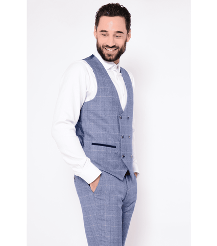MARC DARCY Hilton Check Tweed Double Breasted Waistcoat - Revolver Menswear Bawtry