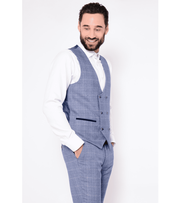 Marc Darcy Hilton Blue Check Tweed Print Double Breasted Waistcoat