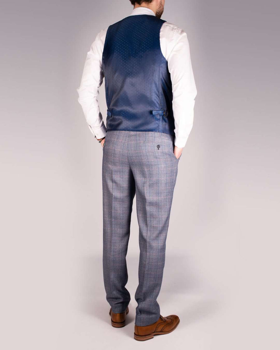 Marc Darcy Hilton Blue Tweed Check Trousers