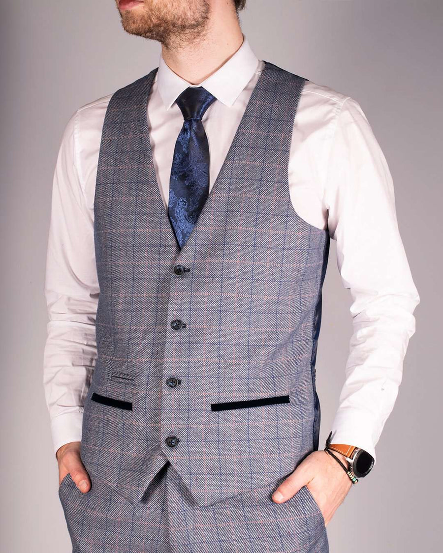 Marc Darcy Hilton Blue Velvet Trim Check Single Breasted Waistcoat