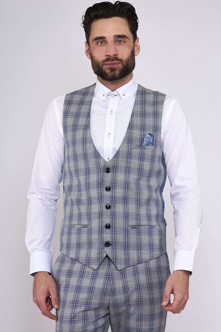 Marc Darcy Grey Jack Check Single Breasted Waistcoat