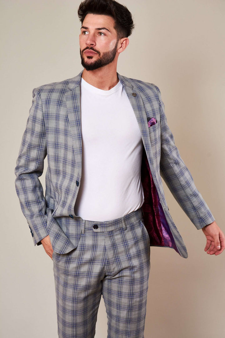 Marc Darcy Grey Jack Check Blazer