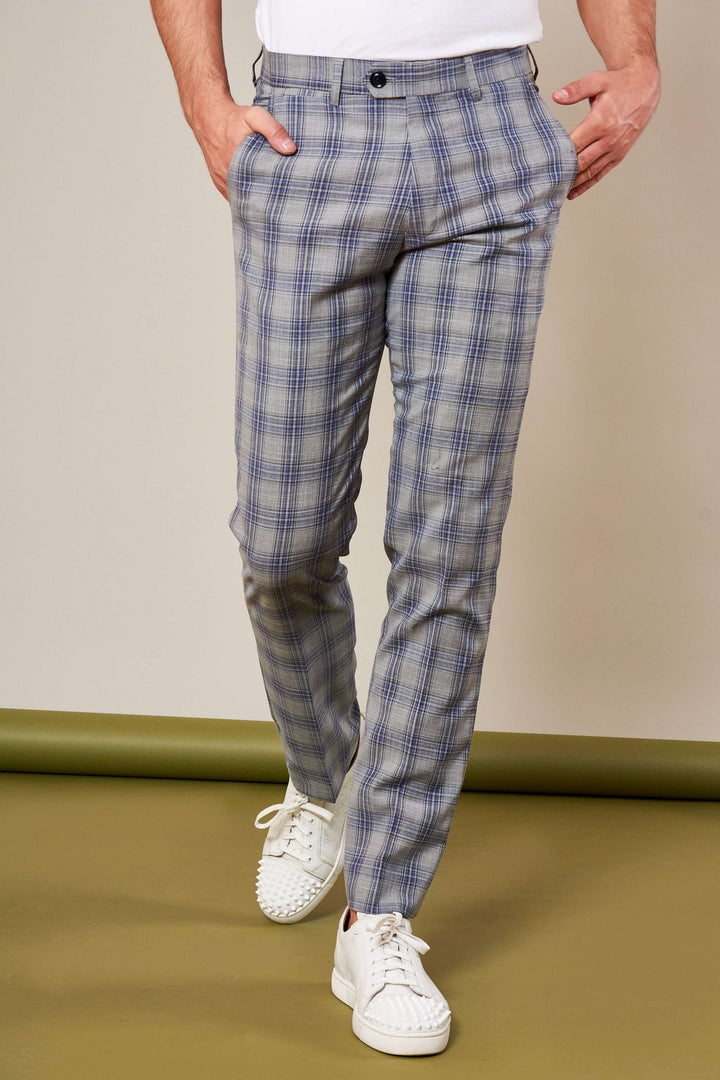 Marc Darcy Grey Jack Check Trousers