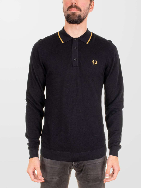 FRED PERRY Tipped LS Knitted Shirt