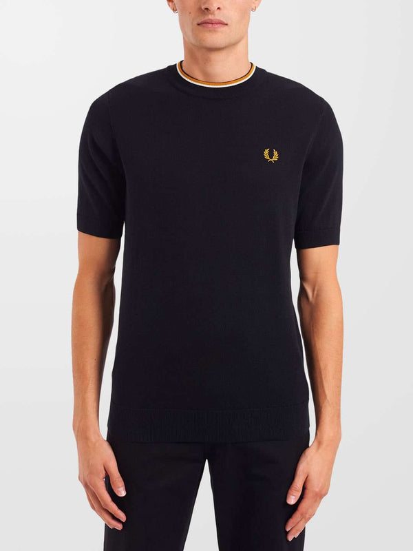 FRED PERRY Black Knitted T-Shirt
