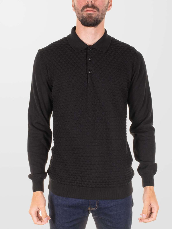 GUIDE LONDON knitted LS Polo Shirt