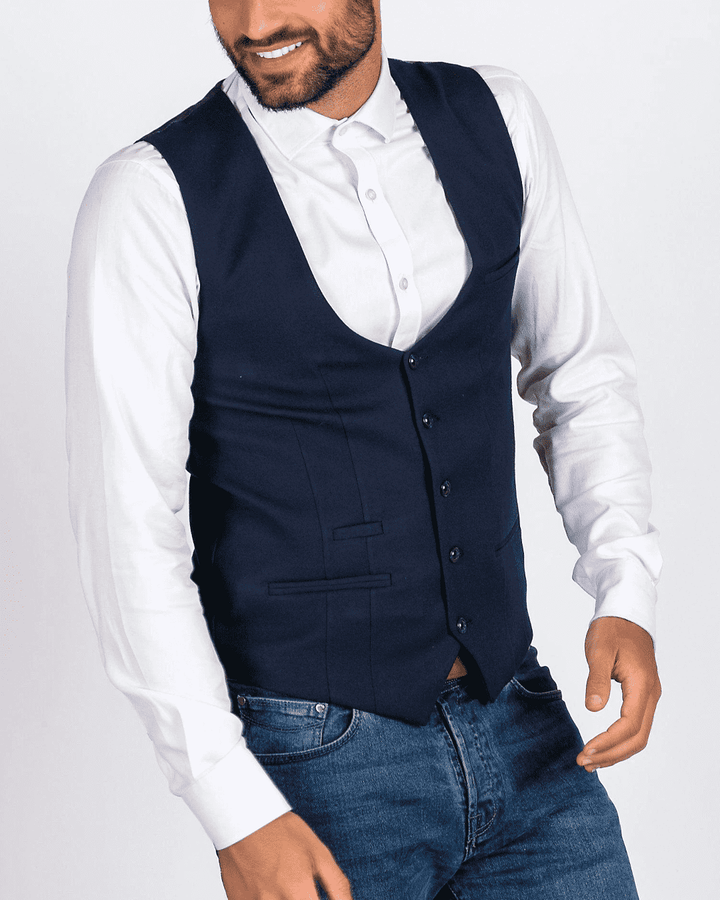 Marc Darcy Kelly Blue Single-Breasted/Double Breasted Waistcoat