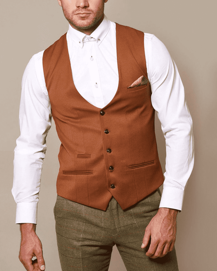 Marc Darcy Kelly Dark Tan Single-Breasted/Double Breasted Waistcoat